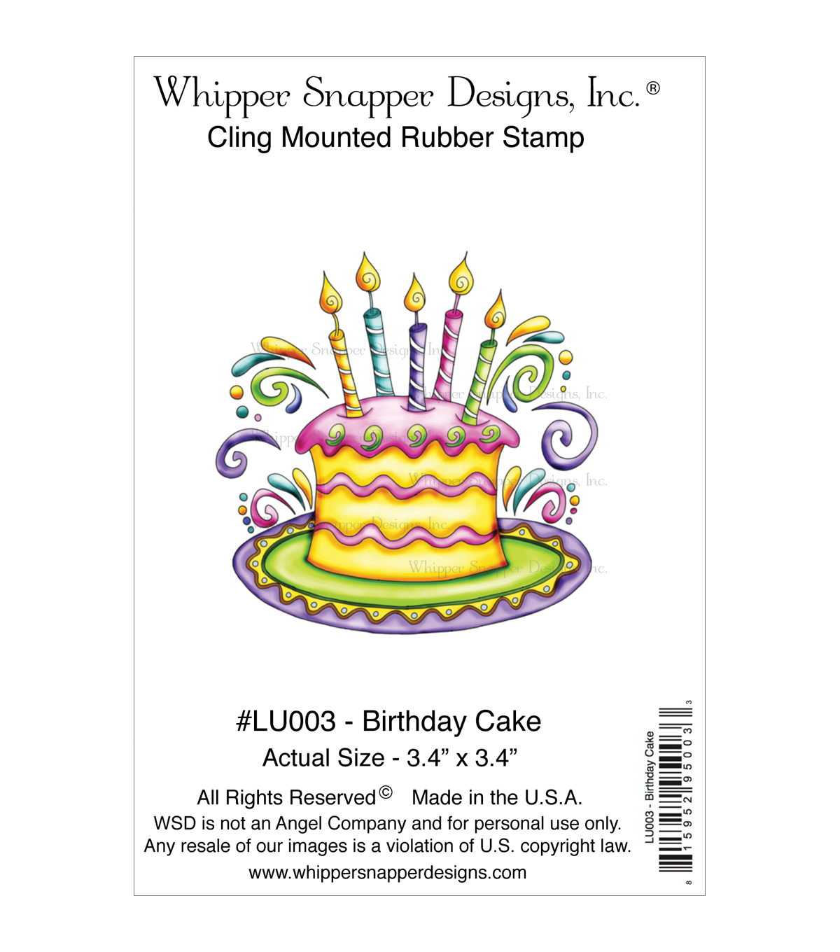 Whipper Snapper Cling Stamps-Birthday Cake