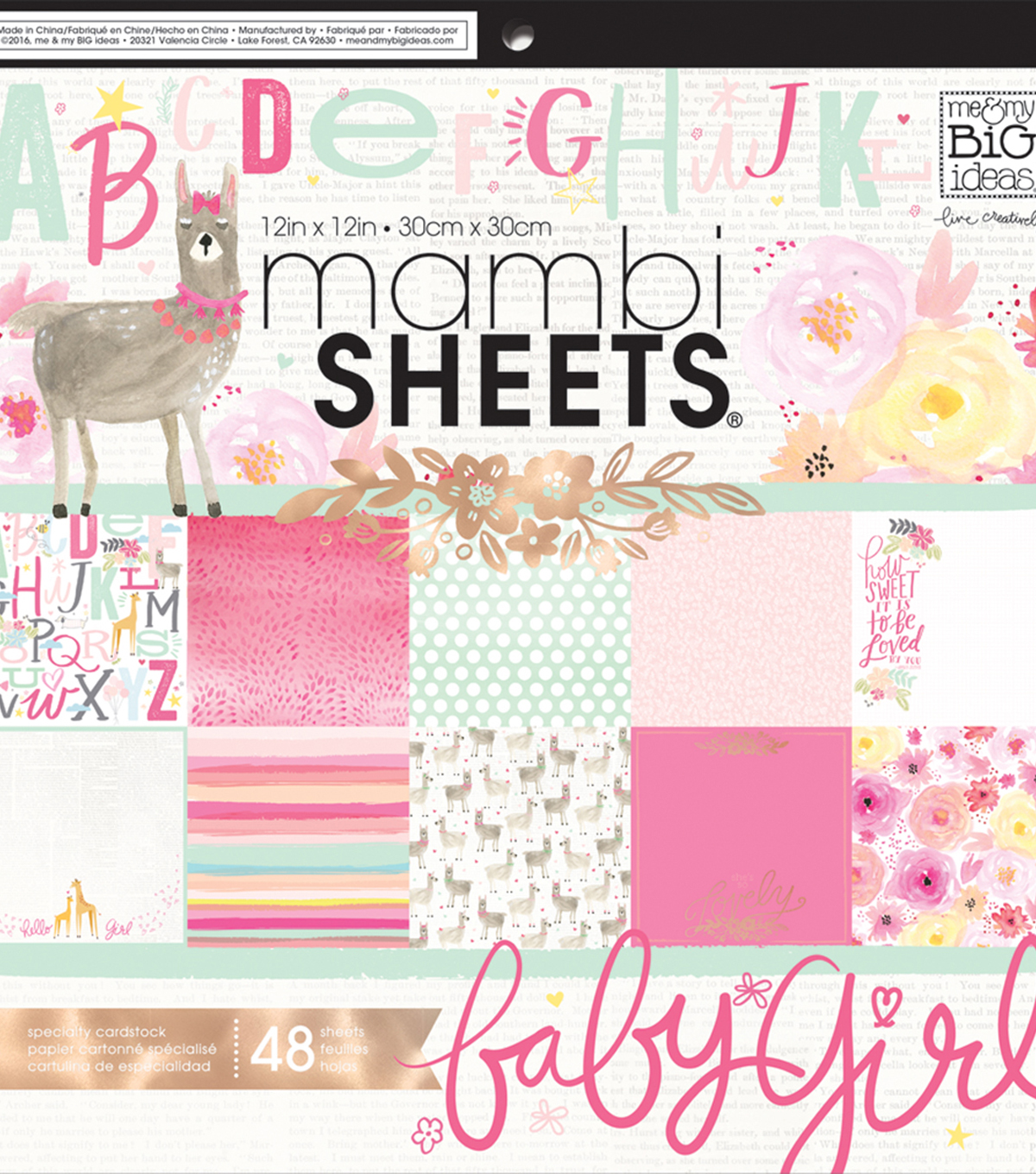 Mambi Single-Sided Paper Pad 12\u0022X12\u0022-She\u0027s So Lovely