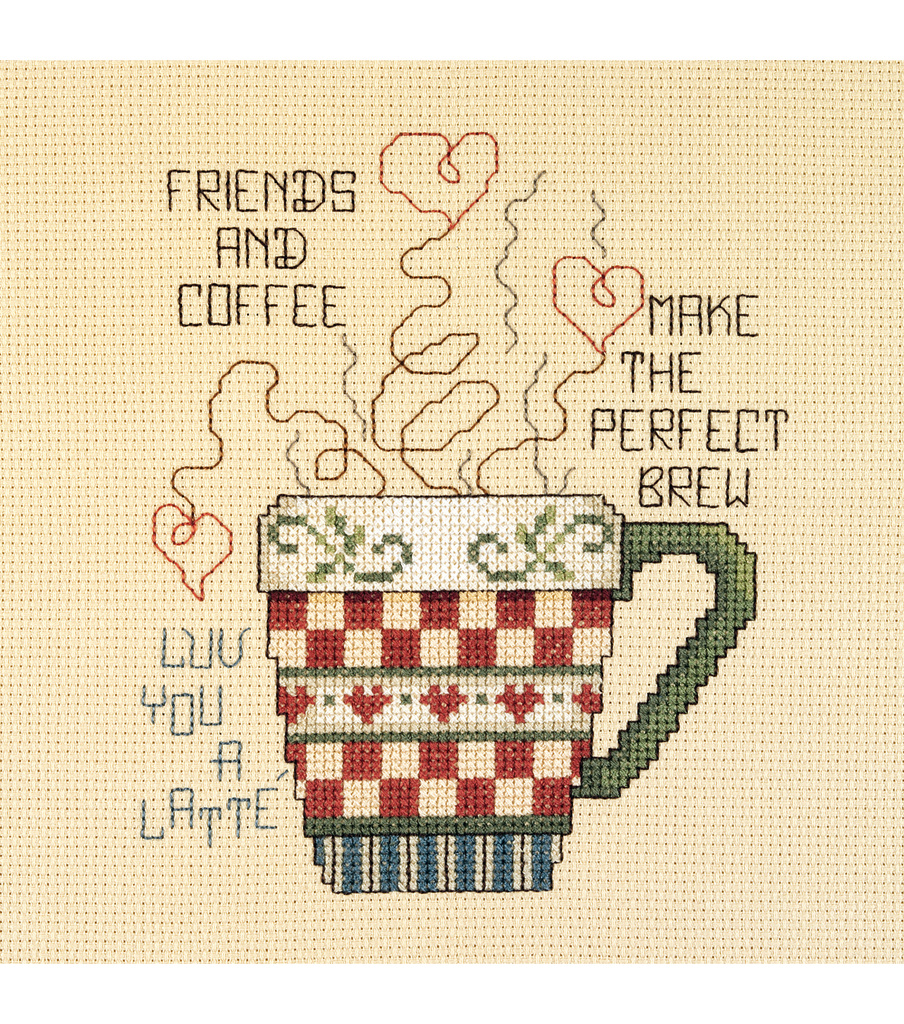 Janlynn Mini Counted Cross Stitch Kit Friends And Coffee