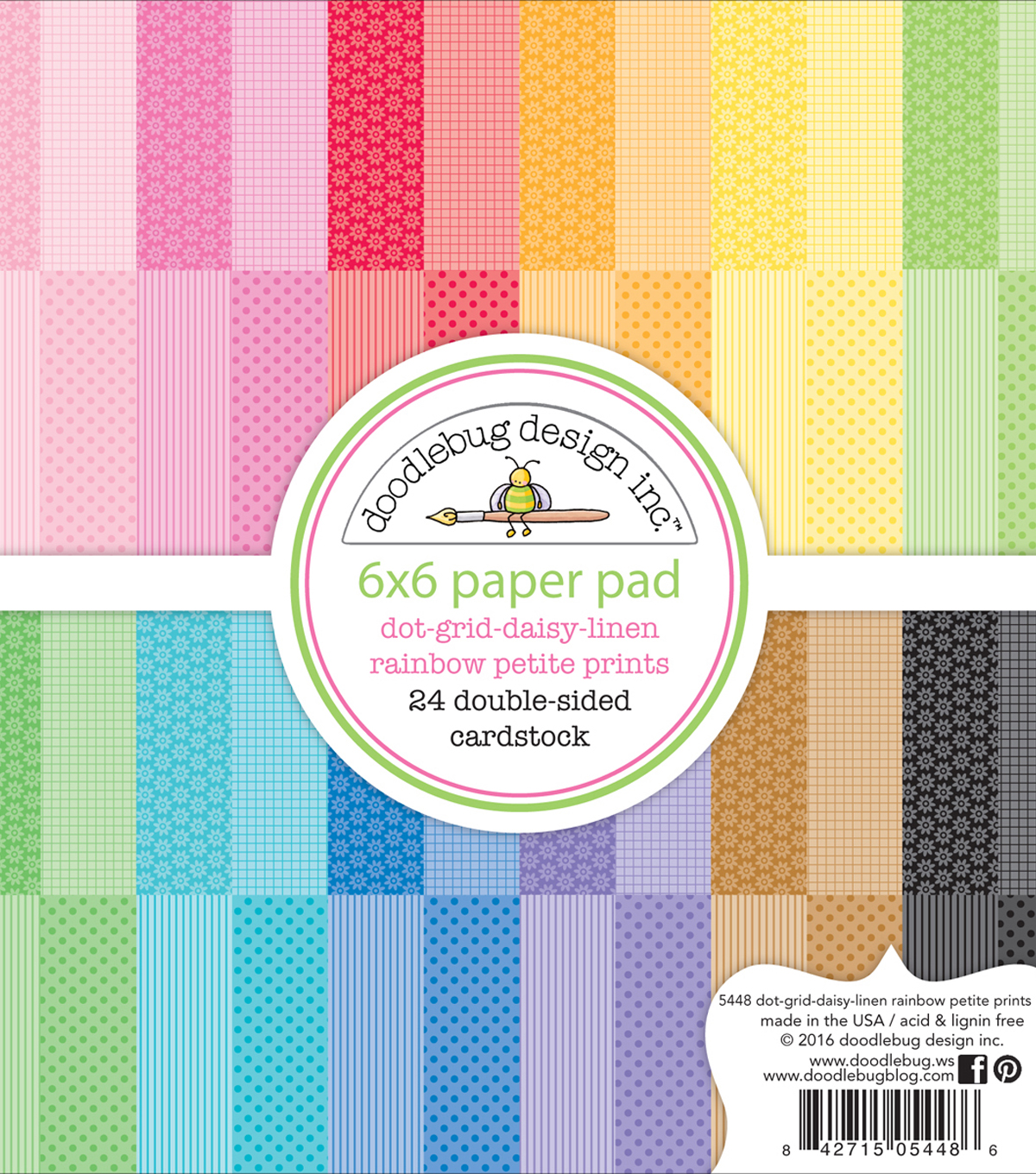Doodlebug Petite Prints Double-Sided Paper Pad 6\u0022X6\u0022-Dot/Grid