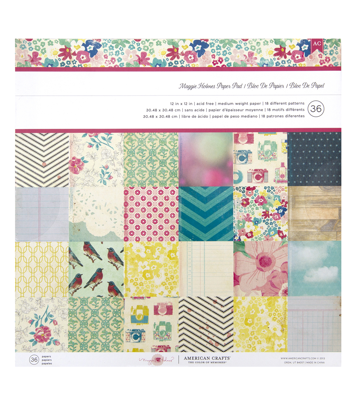 American Crafts™ Maggie Holmes Pack of 36 12''x12'' Paper Pad
