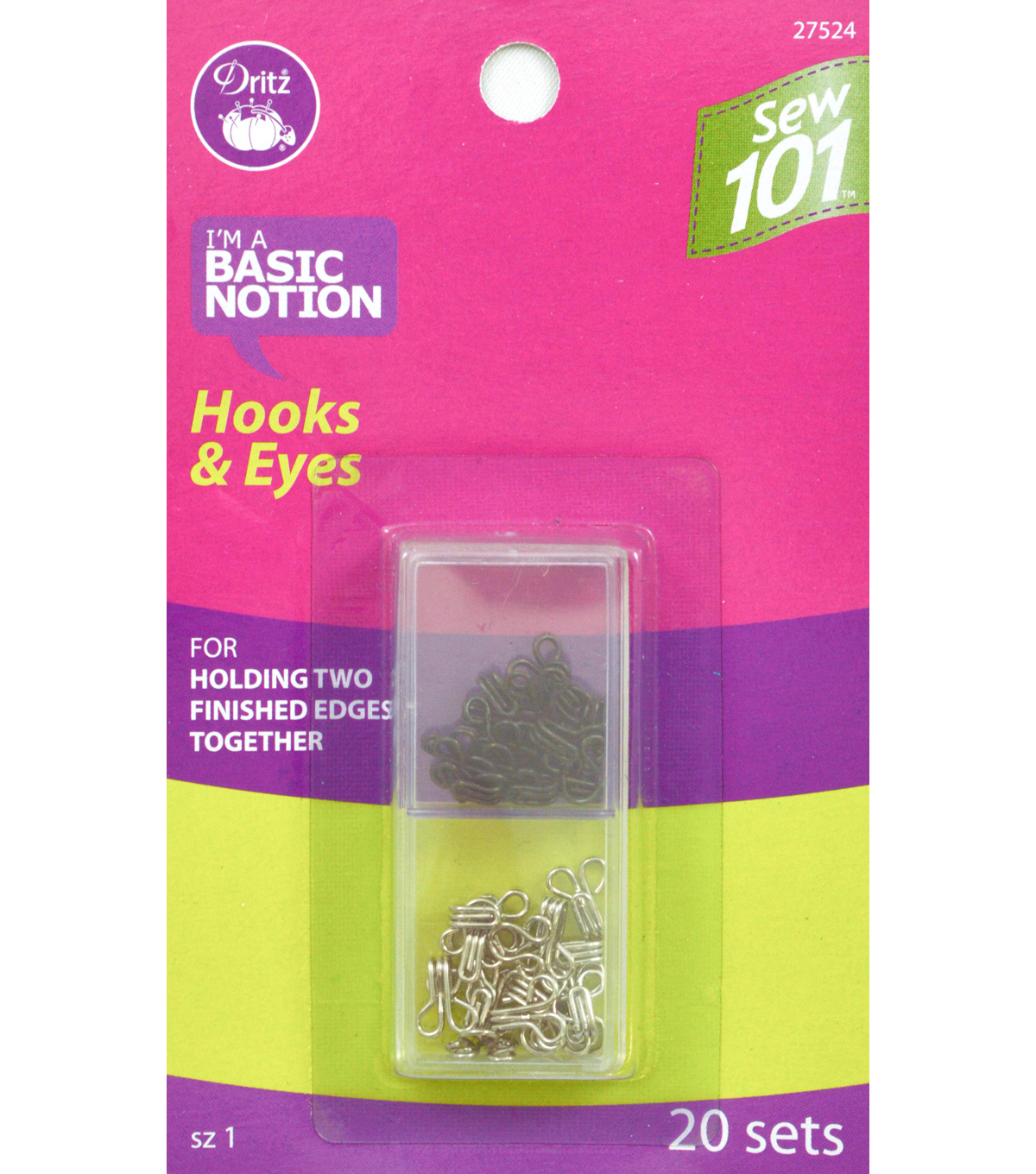Dritz Sewing 101 Hooks And Eyes Nickel Black Size 1