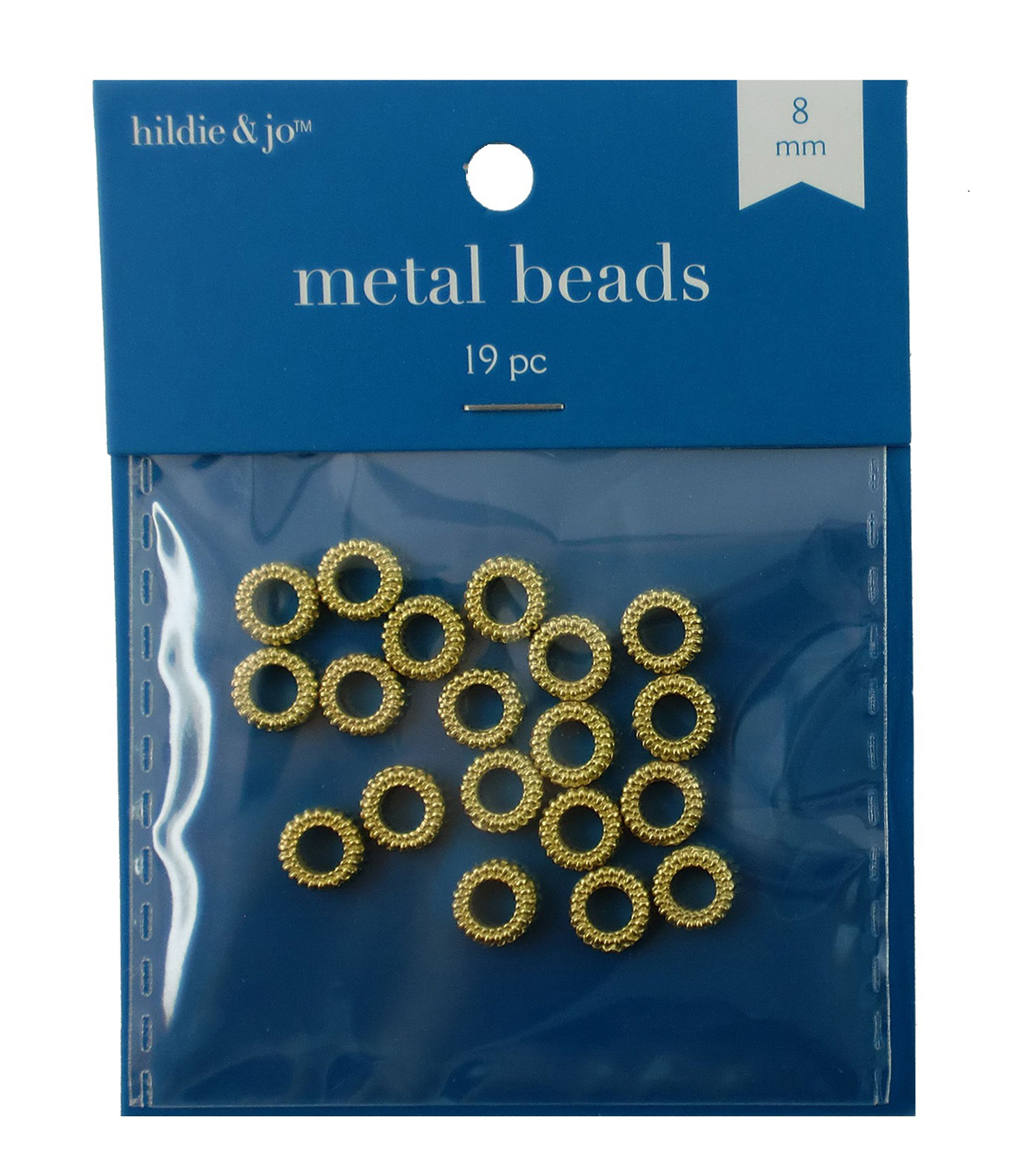 Gold Donut Shaped Cast Metal Beads, 19pc/pkg
