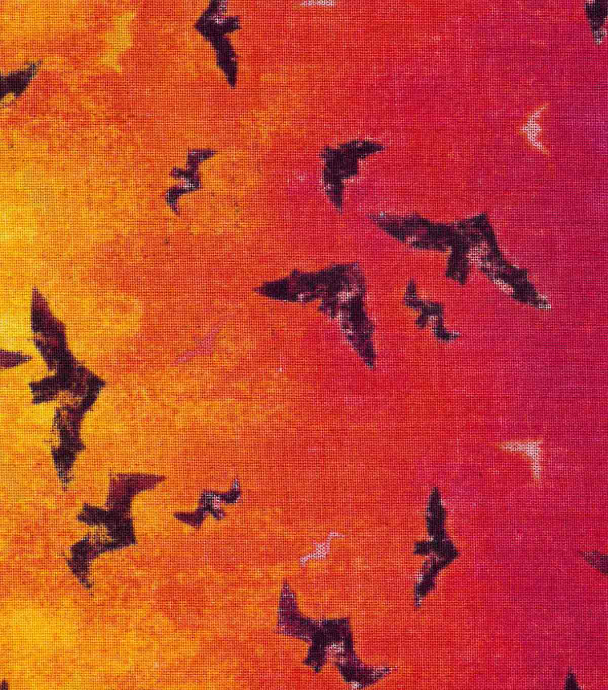 Halloween Cotton Fabric 60\u0022-Wide Ombre Bats Metallic
