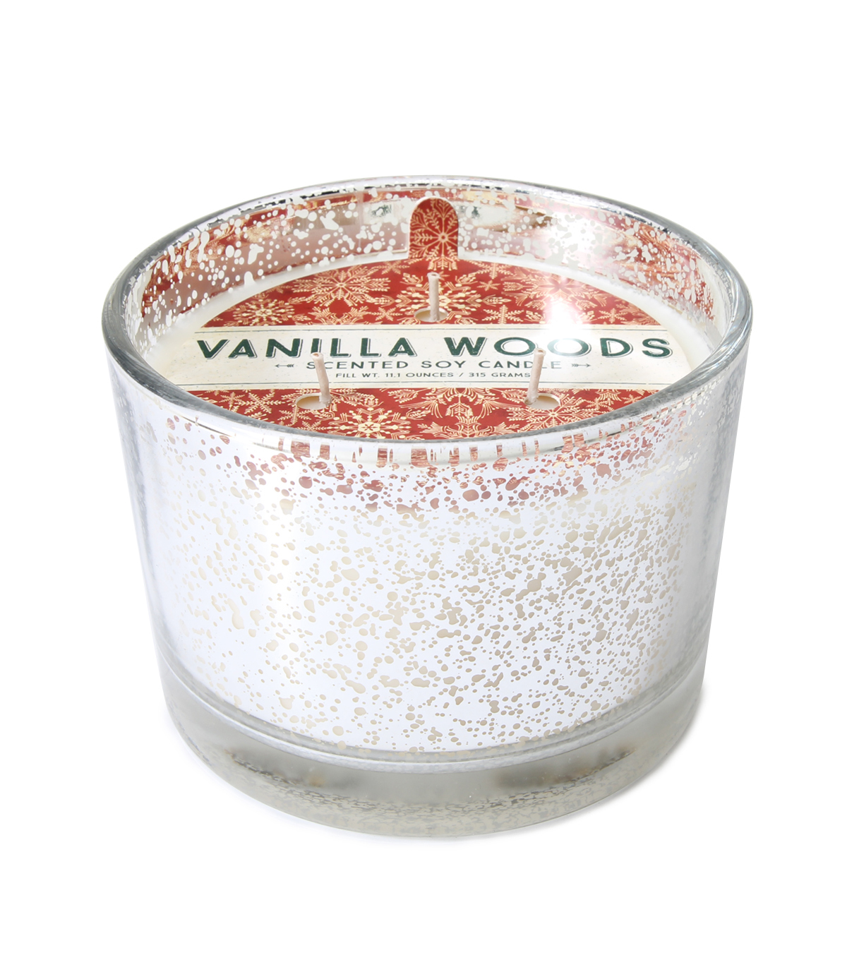 Maker\u0027s Holiday Christmas 3-wick Scented Mercury Candle-Vanilla Woods