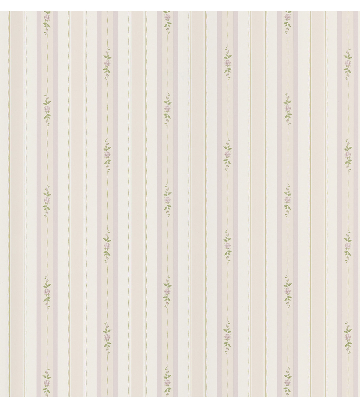 Rosebud Lavender Floral Stripe Wallpaper Sample