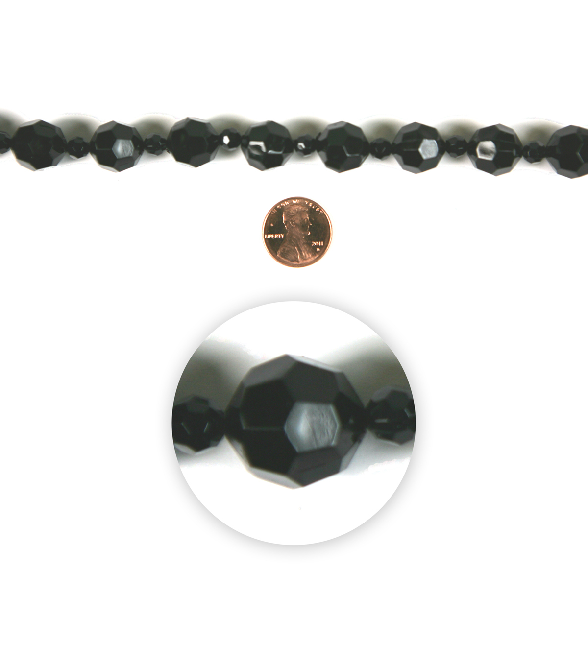 Blue Moon Strung Resin Beads,Round,Black,Facetted