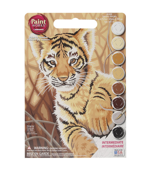 "Dimensions 9""x12"" Learn To Paint! Paint By Number Kit-Tiger Cub"