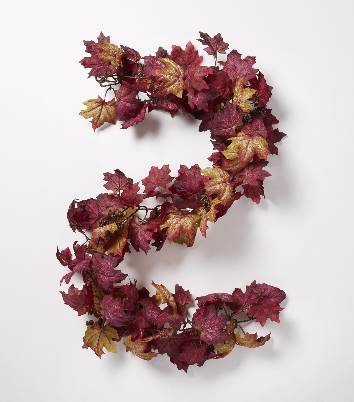 Blooming Autumn 66\u0027\u0027 Maple Leaf & Berry Chain Garland-Purple