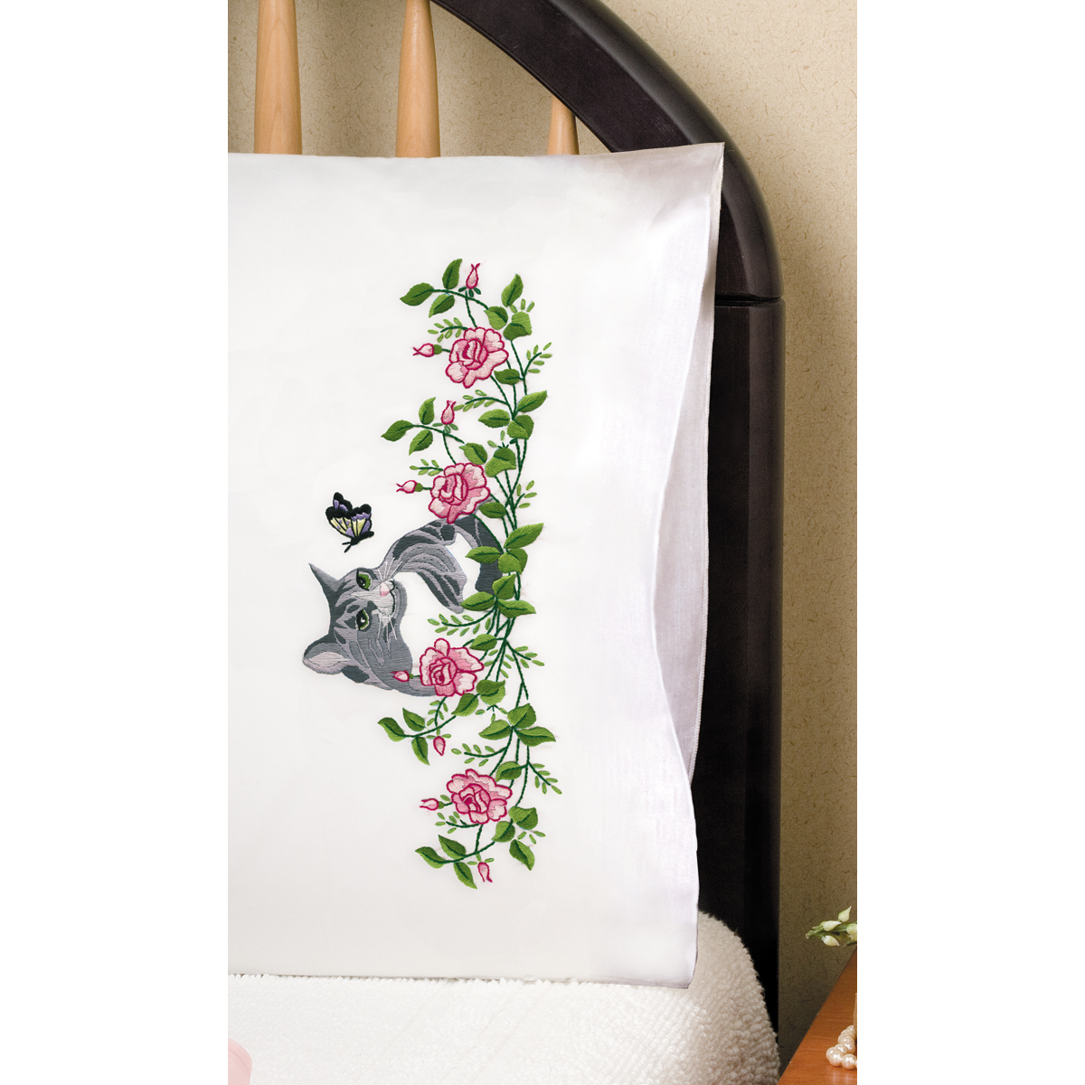 Tobin Stamped Pillowcase Pair For Embroidery Grey Cat