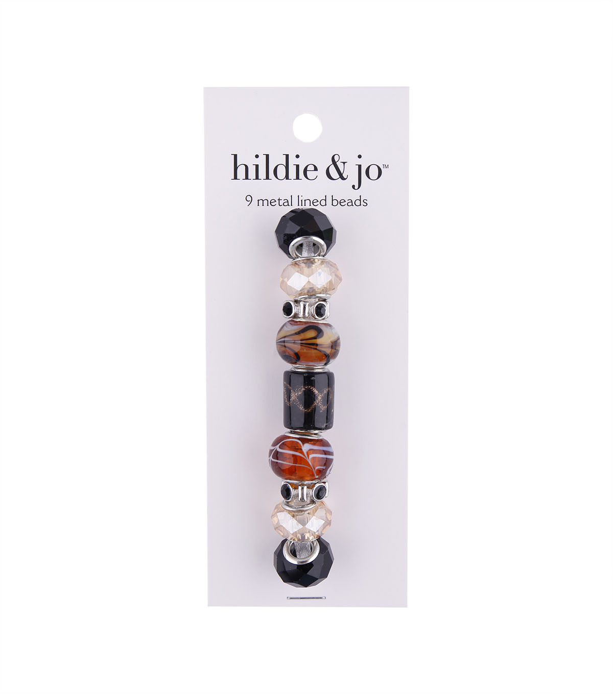 hildie & jo™ 9 Pack Metal Lined Glass Beads-Black & Brown