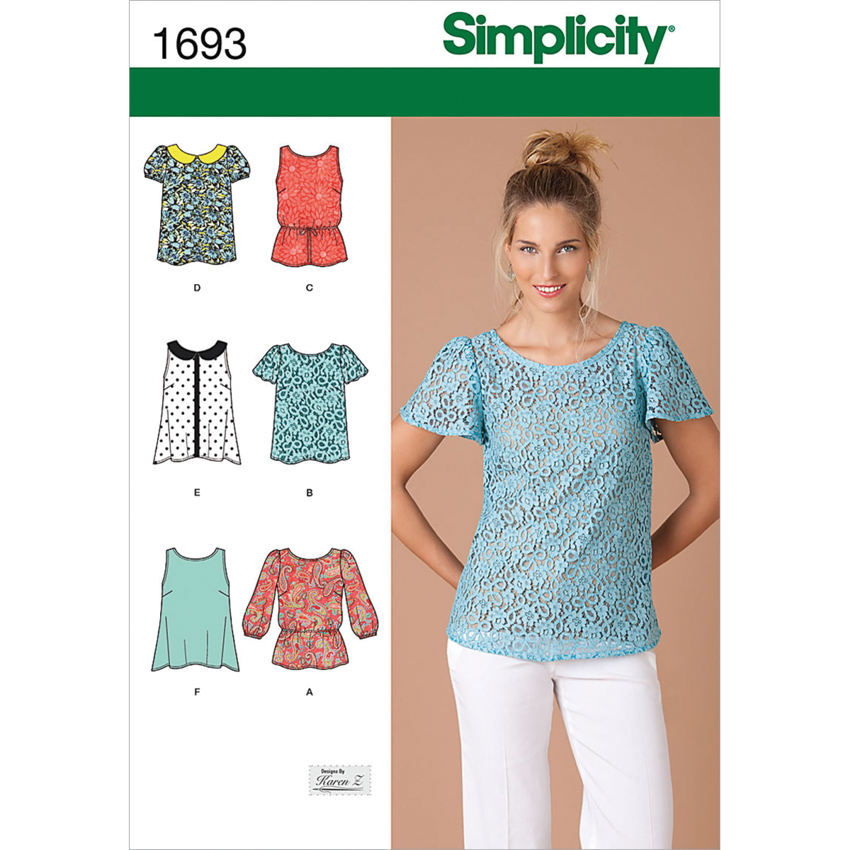 Simplicity Pattern 1693D5 4-6-8-10-1-Misses Tops Vests