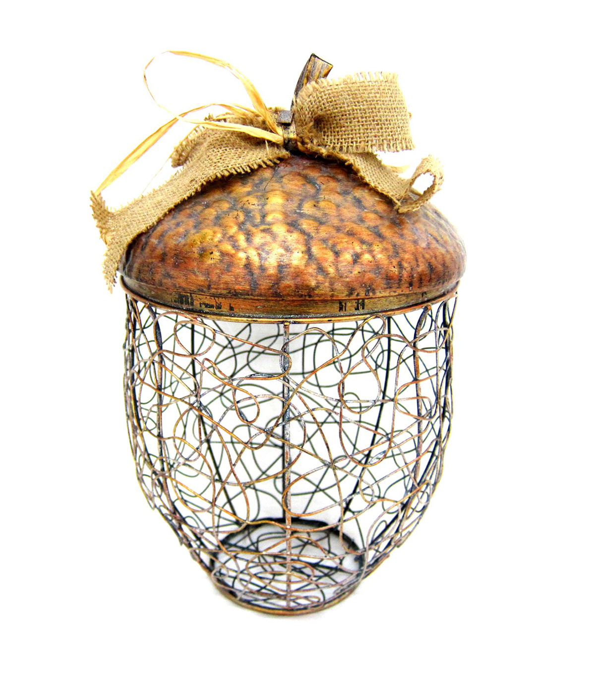 Fall Into Color Small Iron Acorn Container