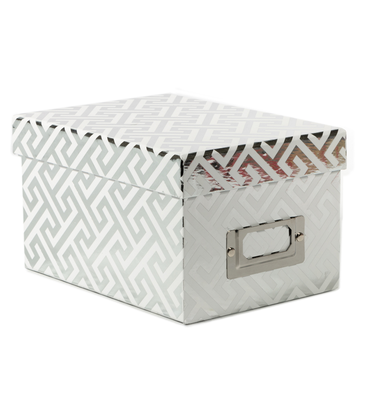 DCWV Mini Box: White with Greek Key silver foil designs