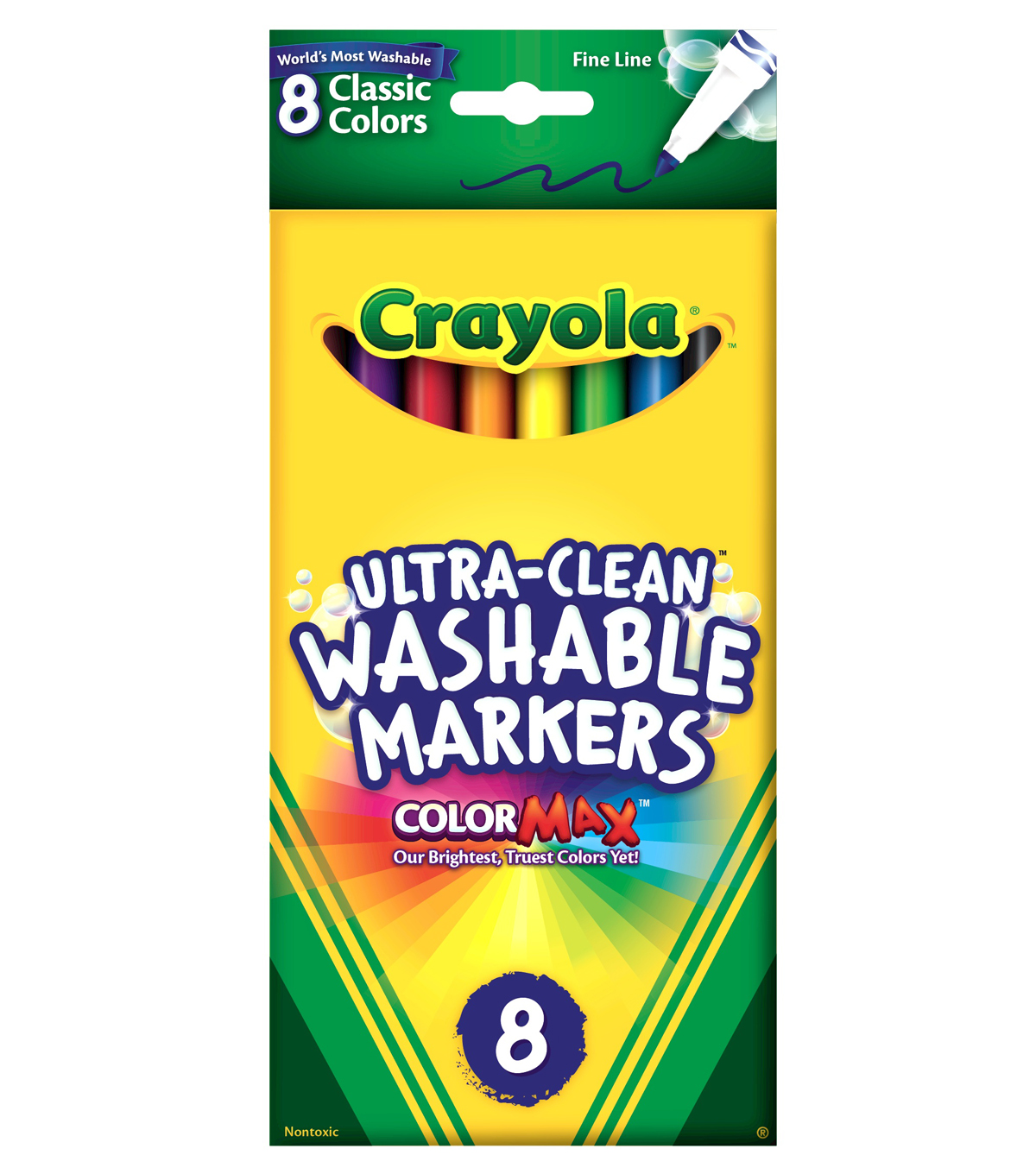 Crayola Fine Line Washable Markers-8PK/Classic Colors