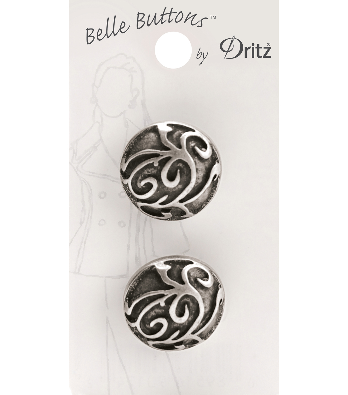 Belle Button-Antique Silver Carved Swirl 23Mm