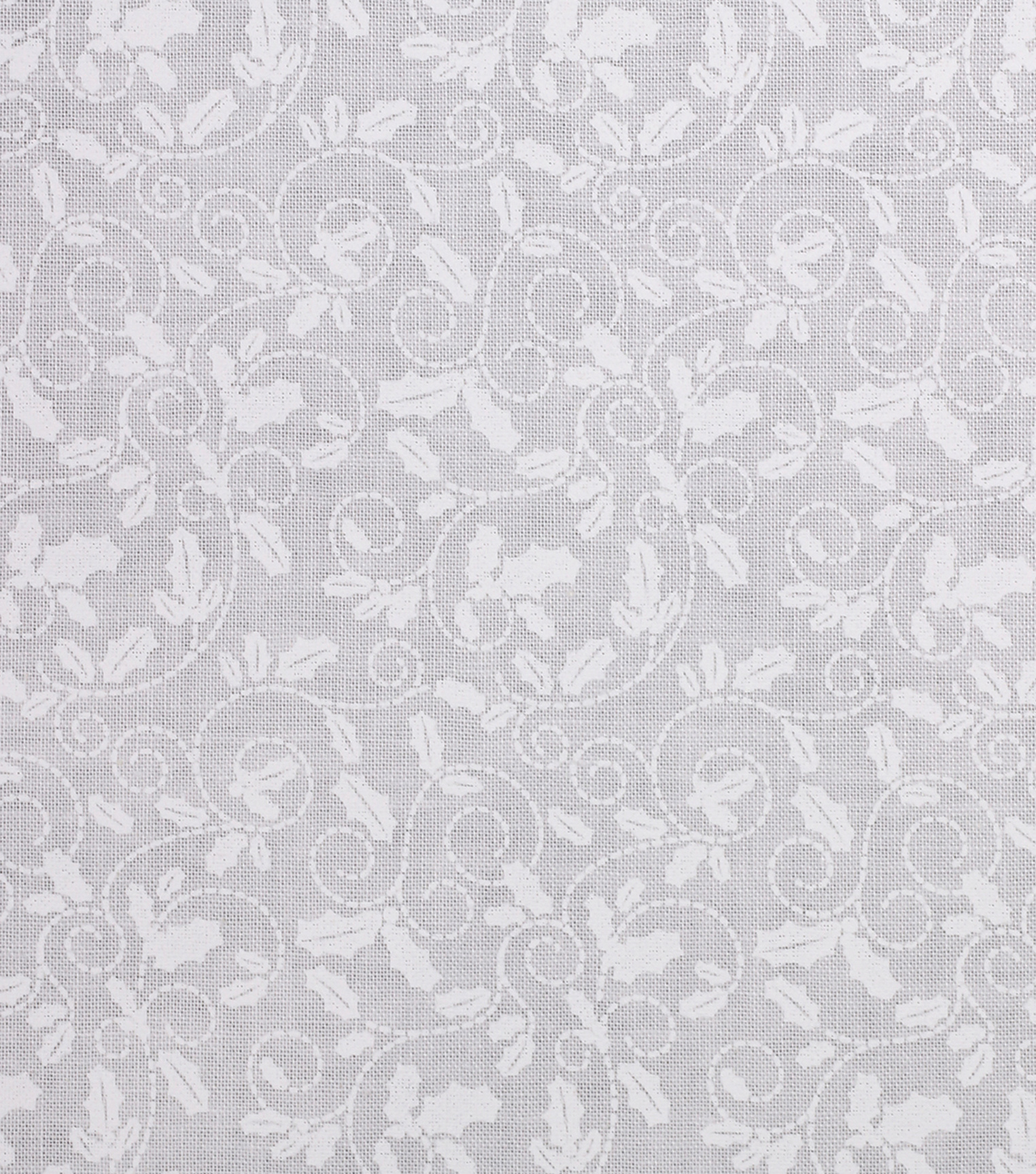 Holiday Showcase™ Christmas Cotton Fabric 43\u0027\u0027-Holly Leaves on White
