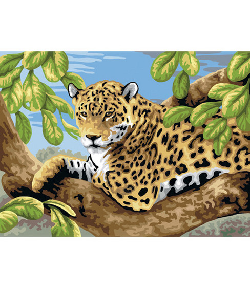 15-1/4\u0022x11-1/4\u0022 Junior Paint By Number Kit-Leopard In Tree