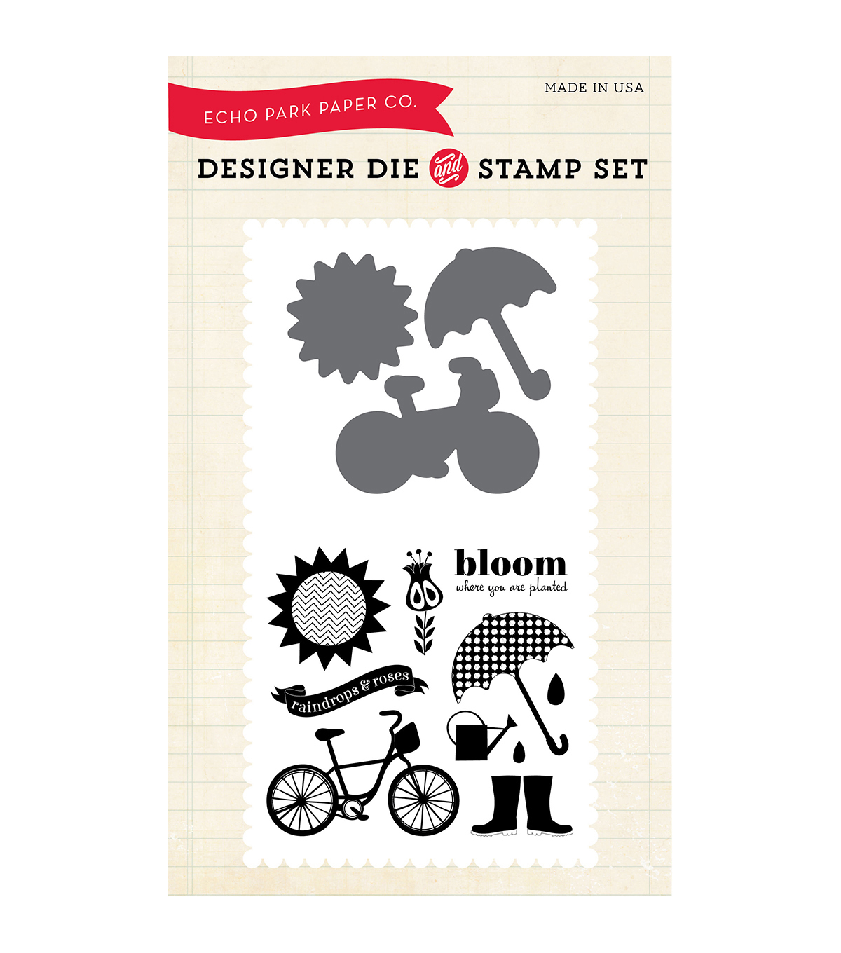 Echo Park Paper Company Bloom Where You\u0027re Planted Die & Stamp Combo Set