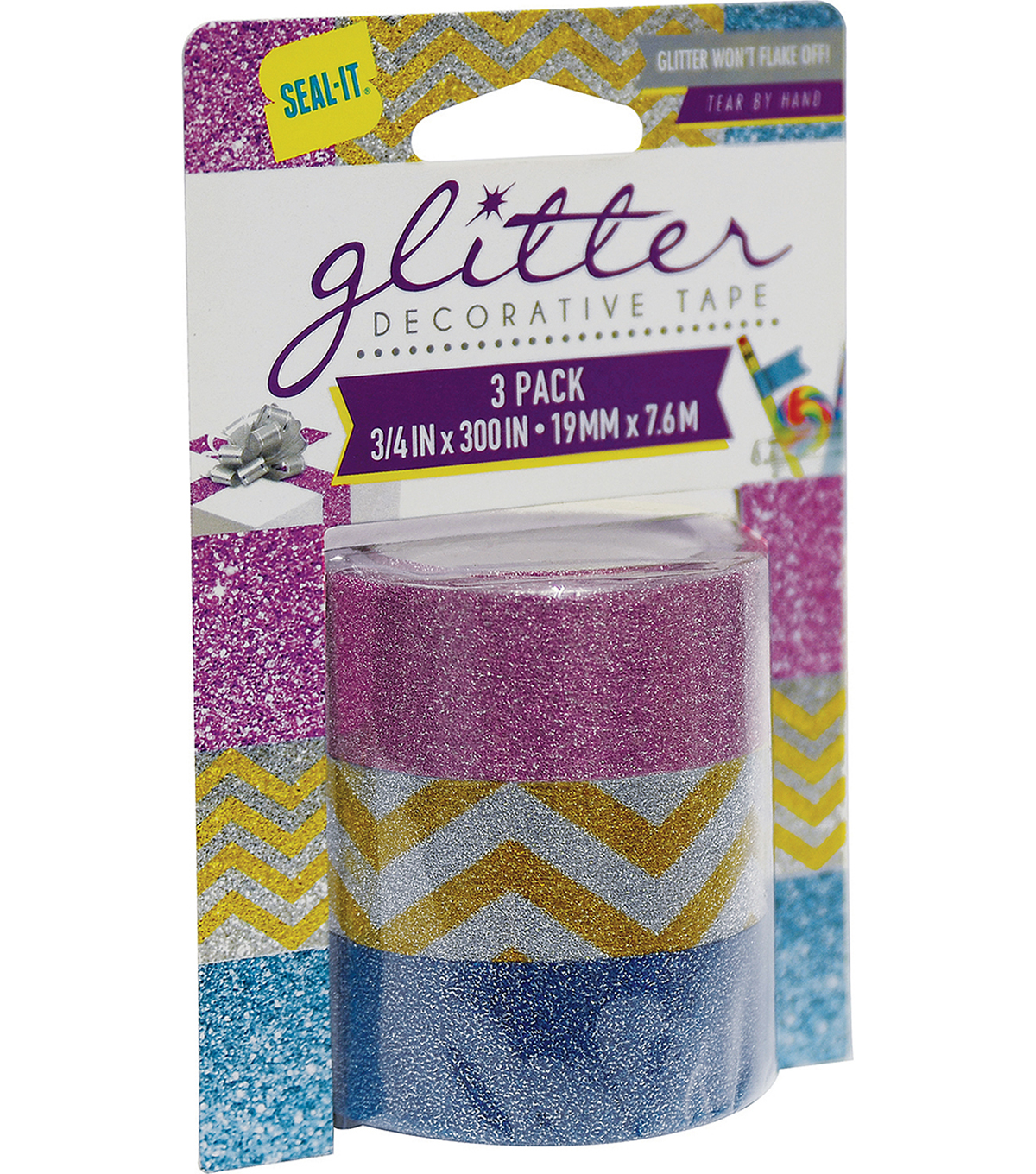 Seal-It 3 pk Glitter Tape 3/4\u0027\u0027x300\u0027\u0027-Multi