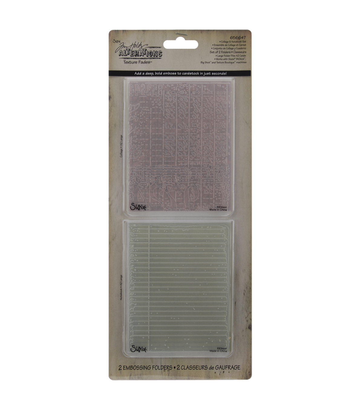 Sizzix Texture Fades Embossing Folders-Collage & Notebook
