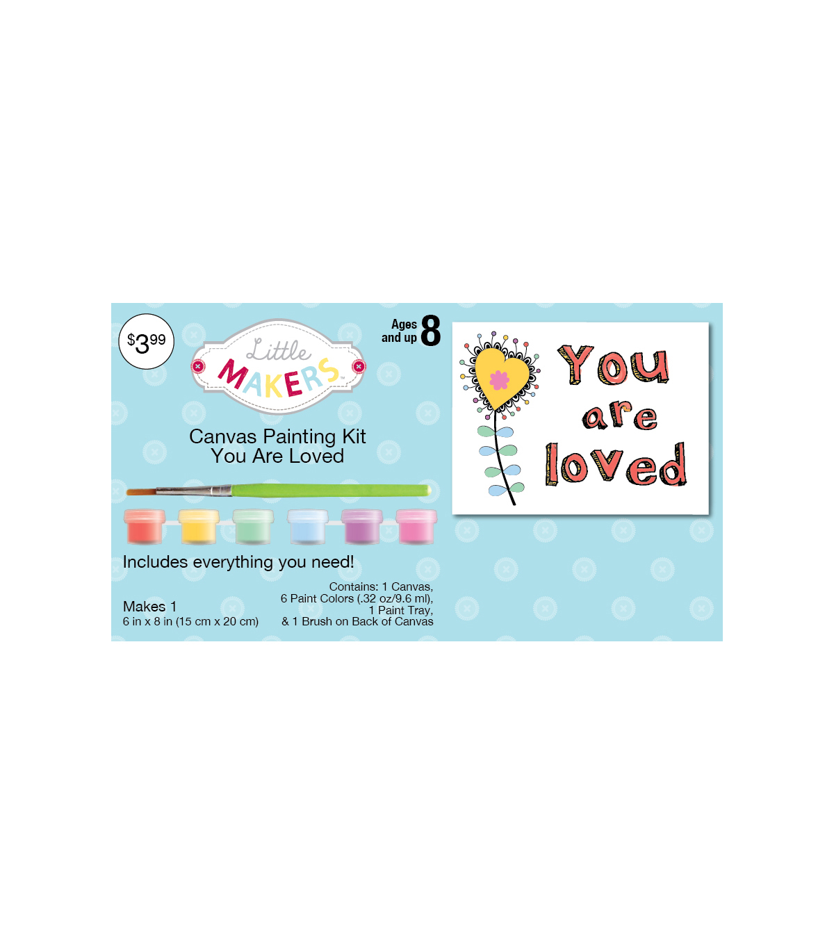 "Little Makers™ Canvas Painting Kit- 6""x8""- You Are Loved"