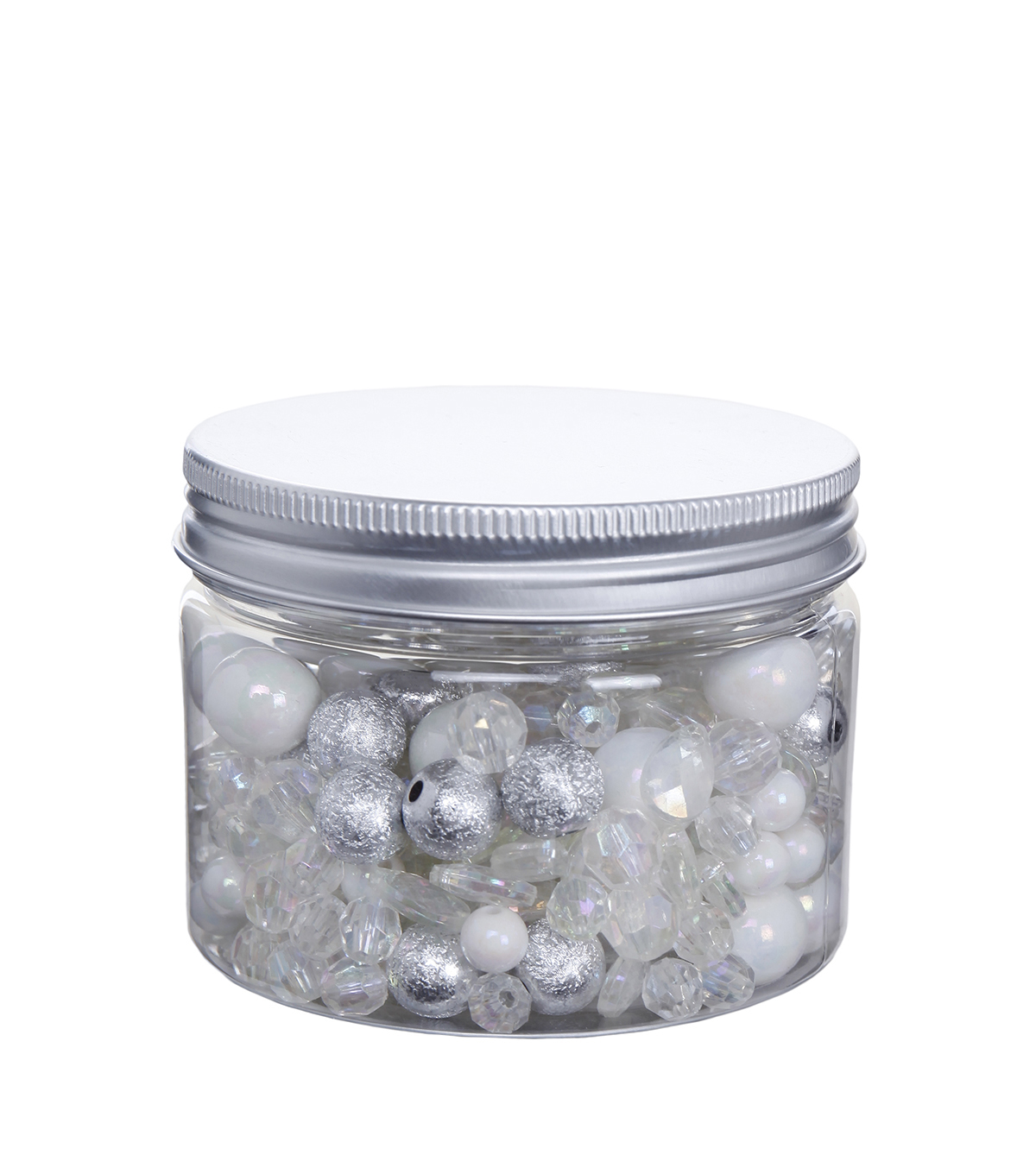 hildie & jo™ Fashion Beads in Plastic Jar-White, Silver & Clear