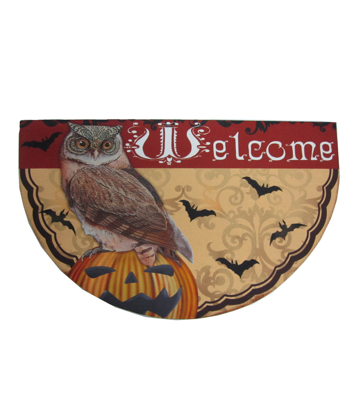 Maker\u0027s Halloween Rubber Door Mat-Halloween, Owl & Welcome