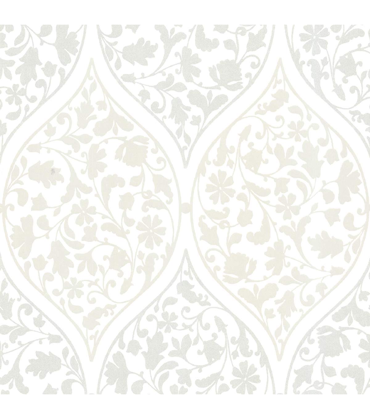 Adelaide Silver Ogee Floral  Wallpaper Sample