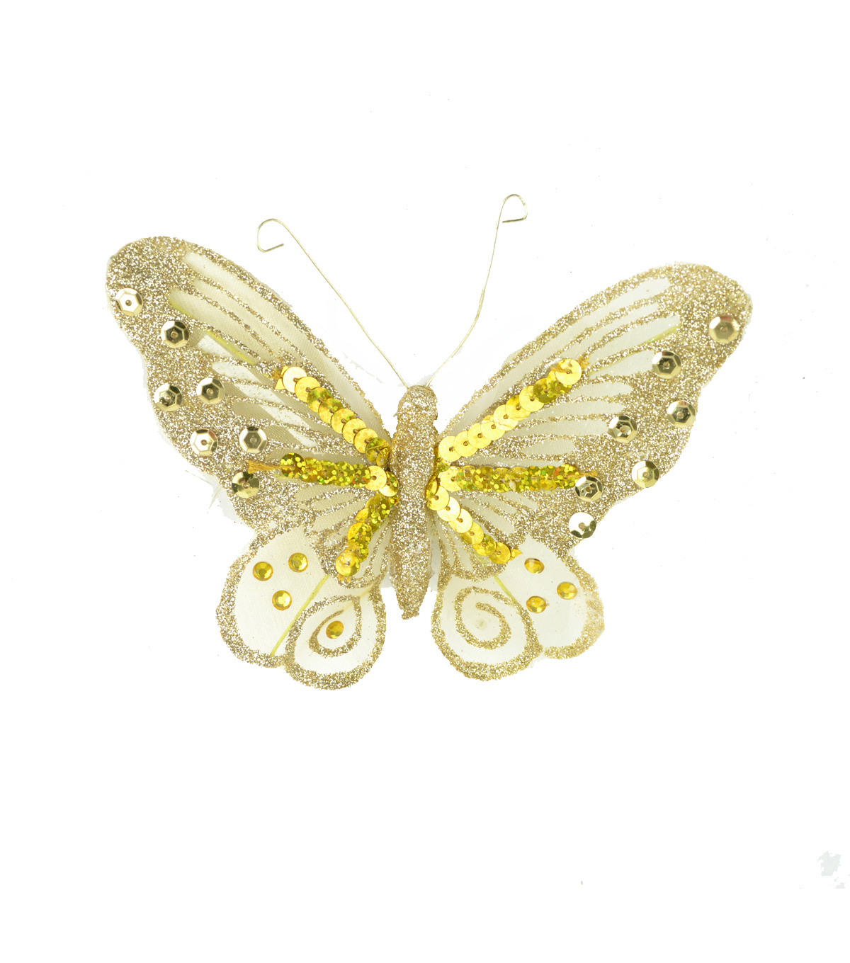 Blooming Holiday Sequin Butterfly With Clip-Gold