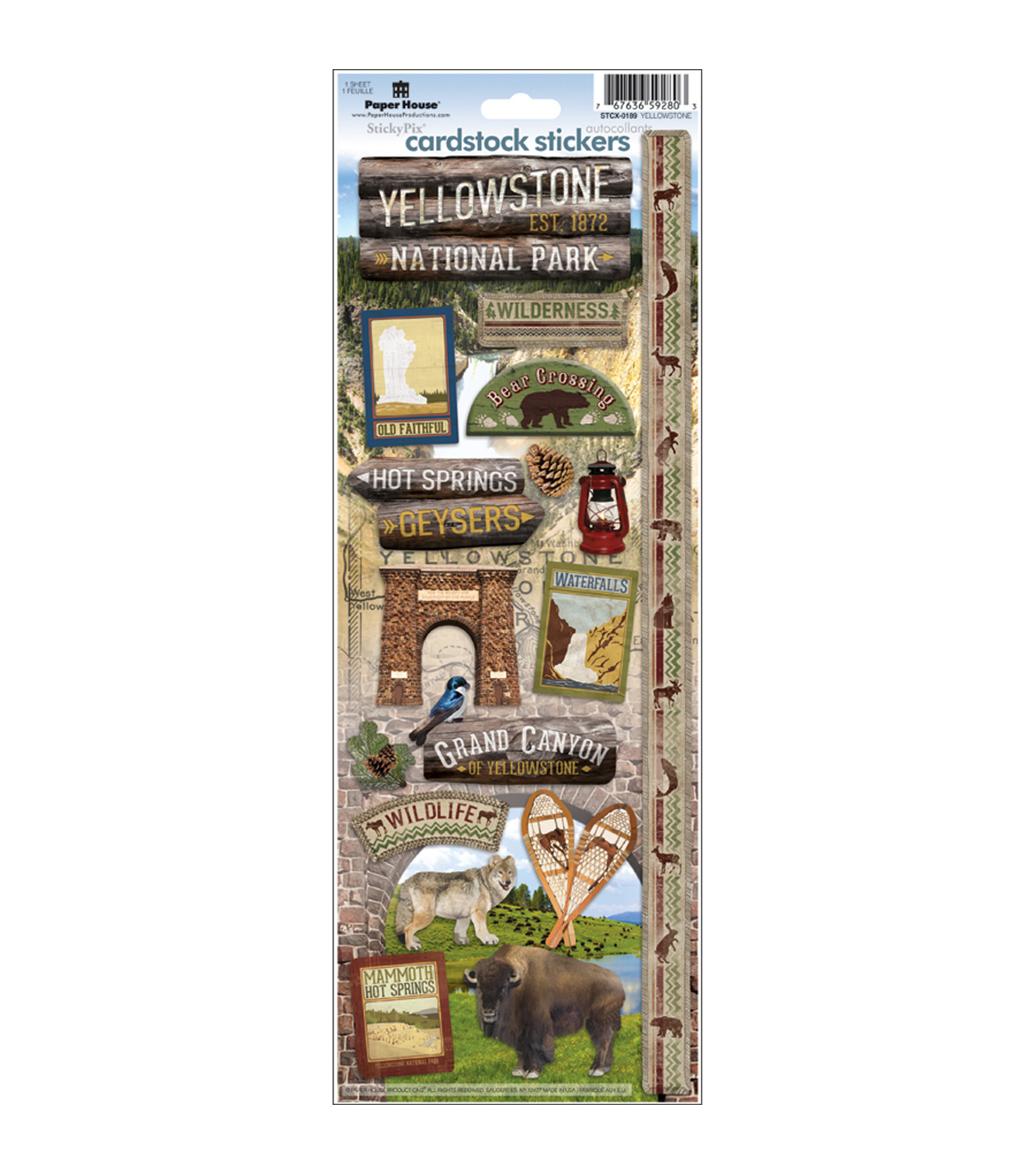 Paper House Cardstock Stickers-Yellowstone