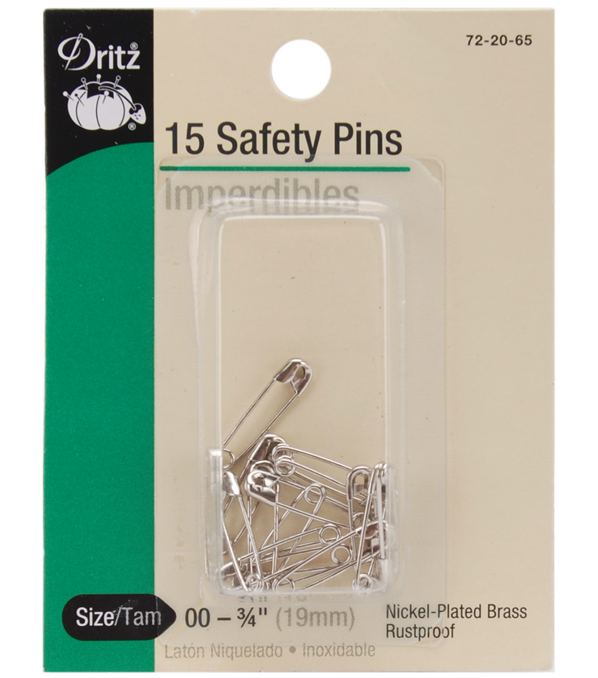 Dritz Nickel Plated Safety Pins