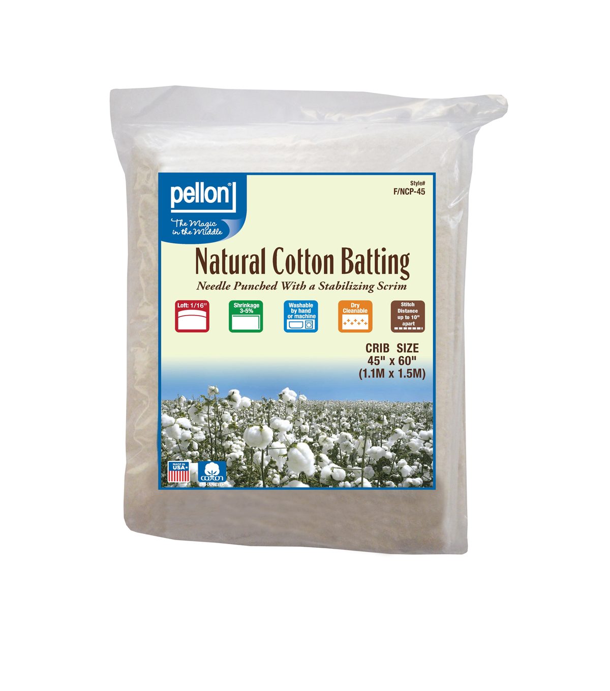 Pellon Nature\u0027s Touch Cotton Batting 45\u0022x60\u0022