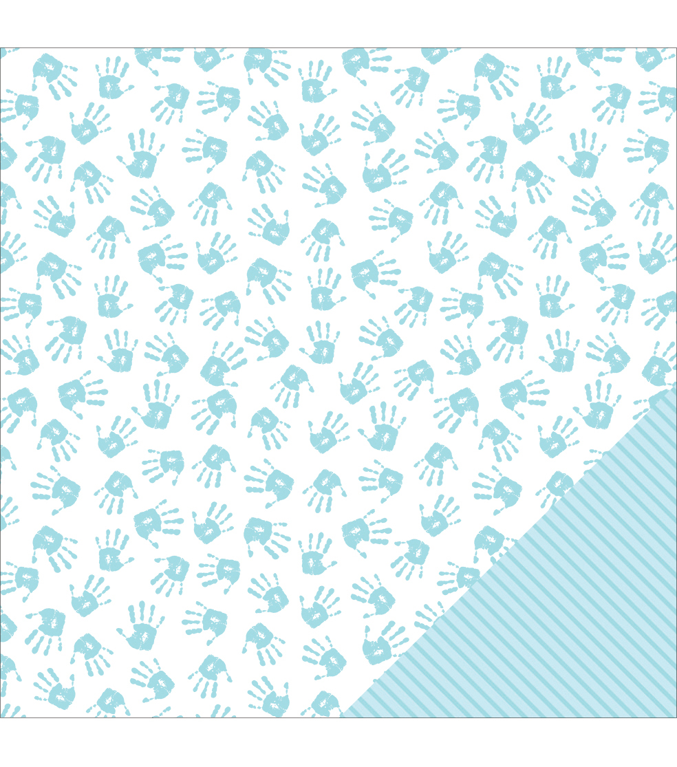 American Crafts Baby Boy Hands Double-Sided Cardstock