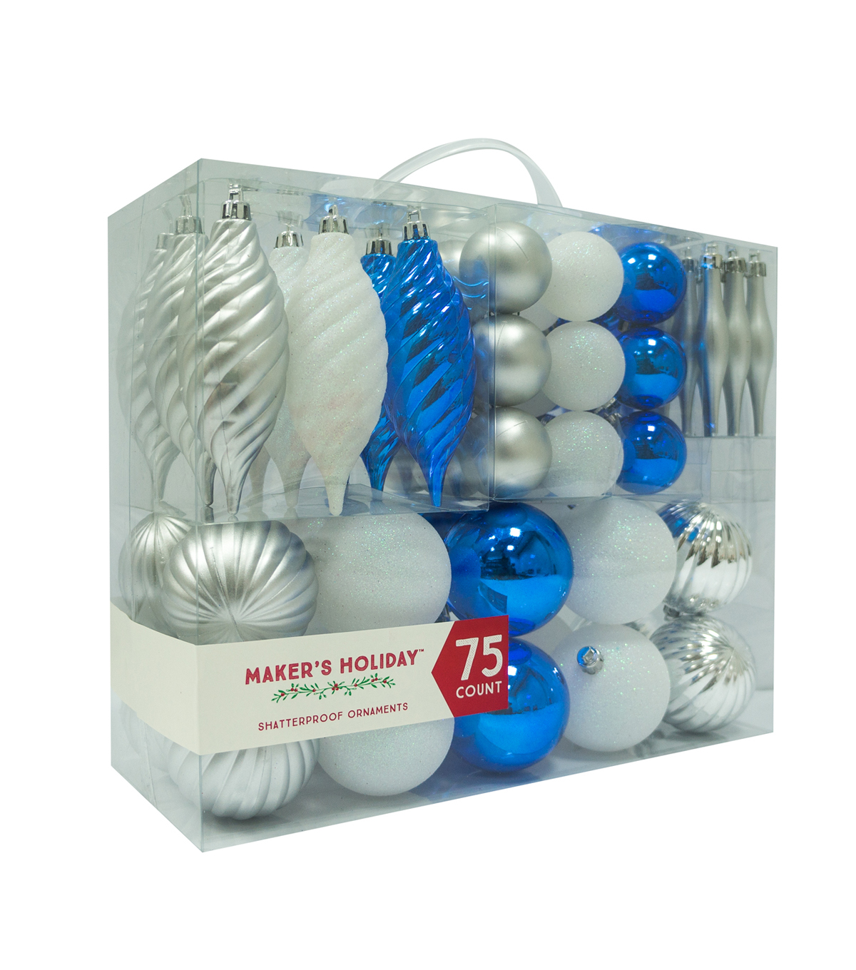 Maker\u0027s Holiday 75ct Shatterproof Ornaments-Blue, Silver & White