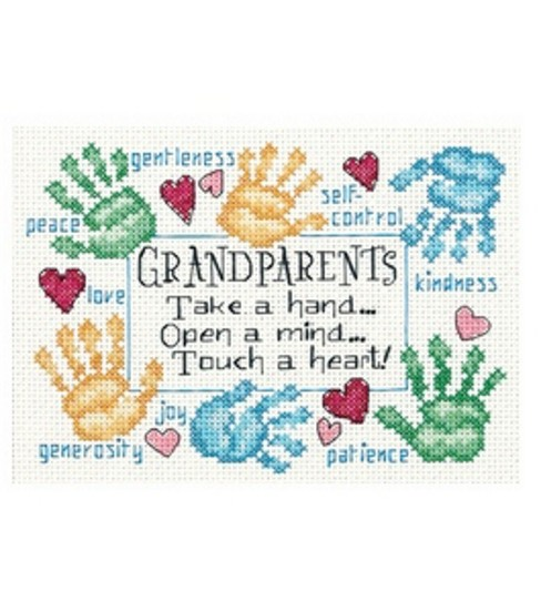 Dimensions Counted Cross-Stitch Grandparents Touch A Heart Mini
