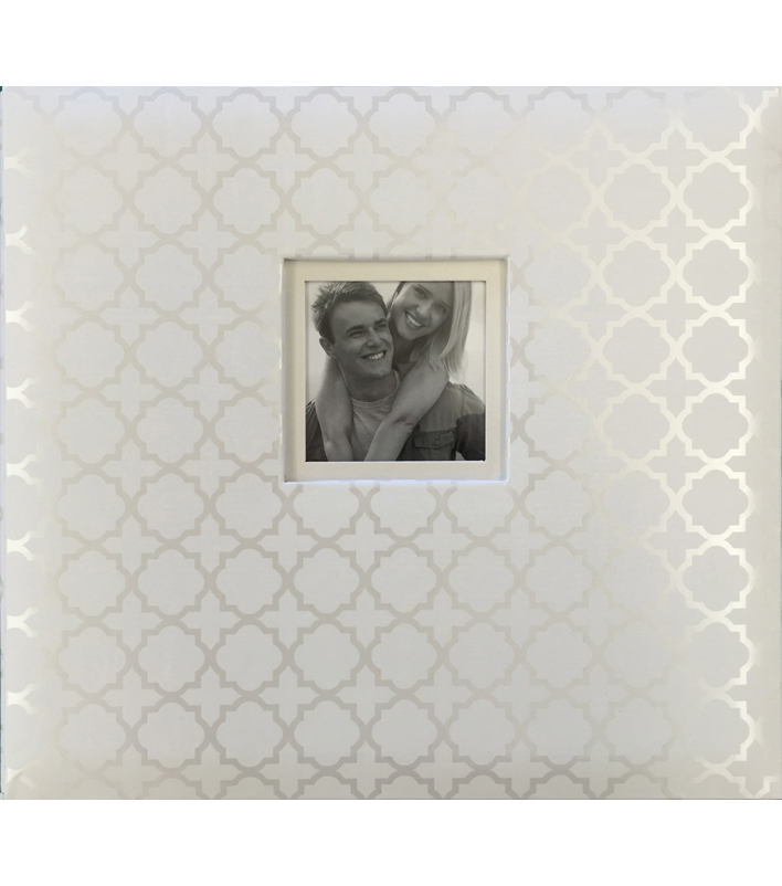 K&Company White Pearl Quatrefoil 12\u0022x12\u0022 Window Scrapbook