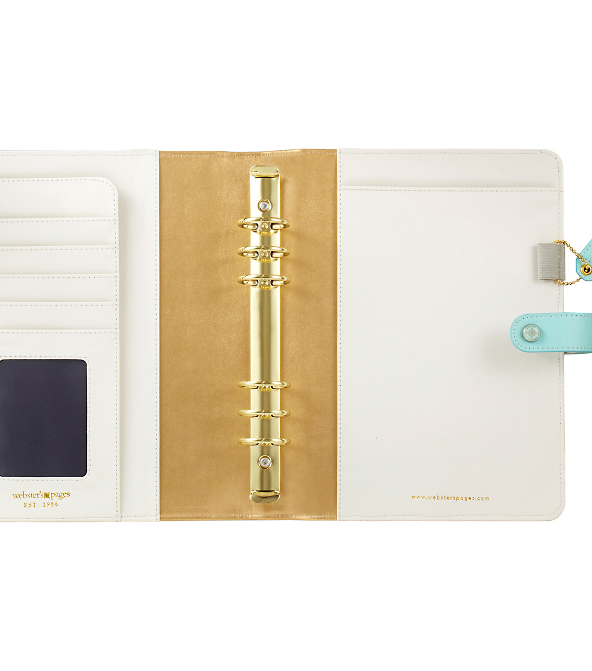 A5 Faux Leather Planner Kit 7.5\u0022X10\u0022-Blue w/Gold Stripe