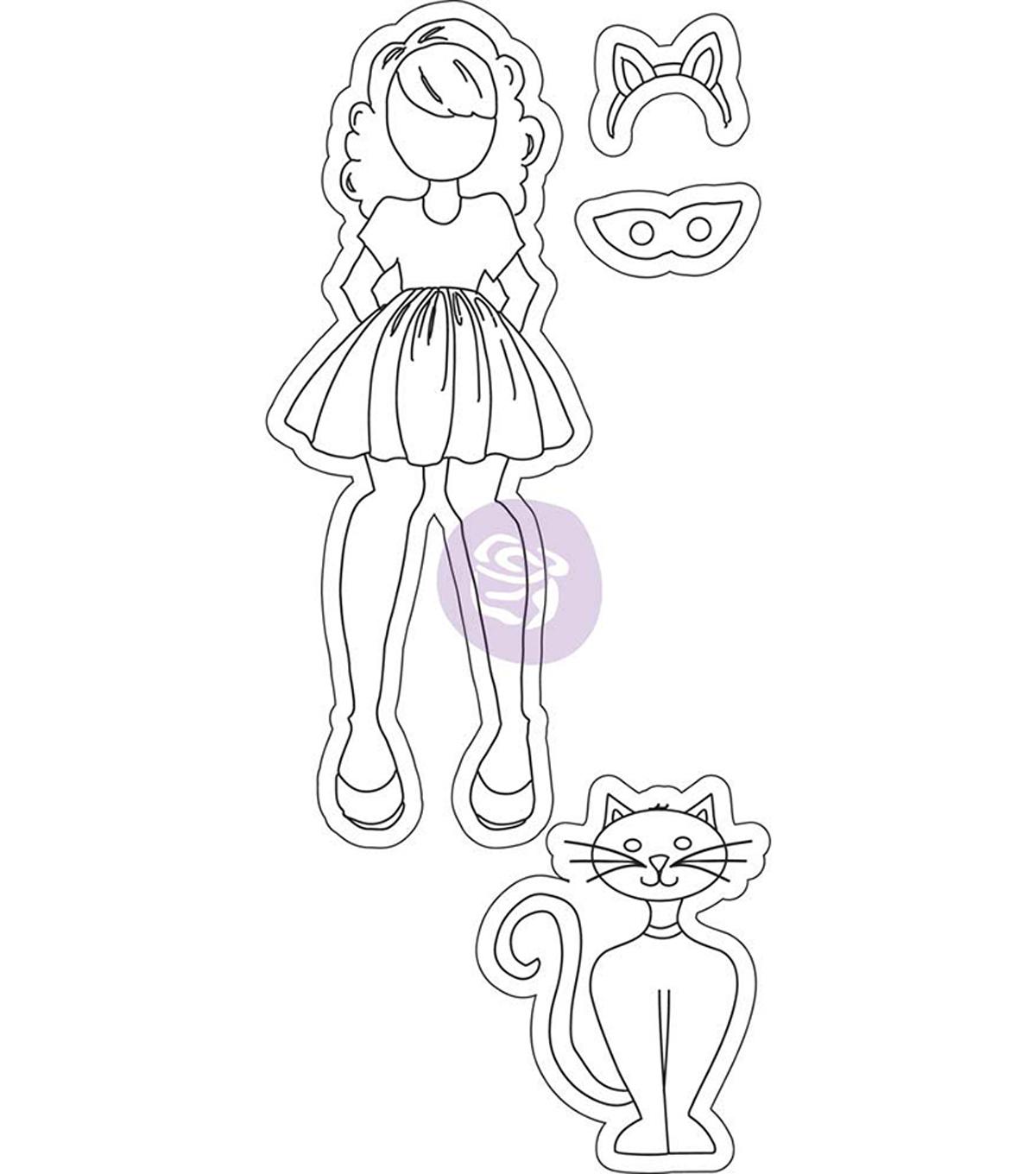 Mixed Media Cling Rubber Stamps-Catgirl