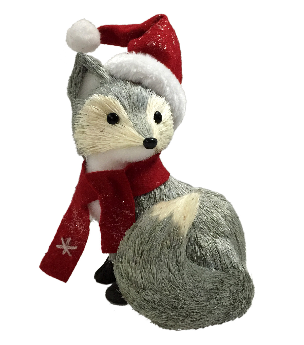 Blooming Holiday Fox With Santa Hat