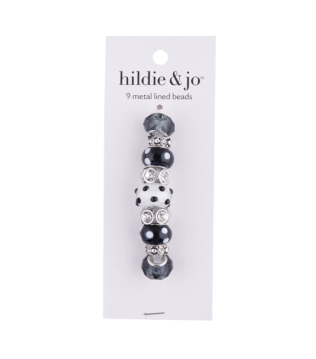 hildie & jo™ 9 pk Metal Lined Glass Beads-Black & White