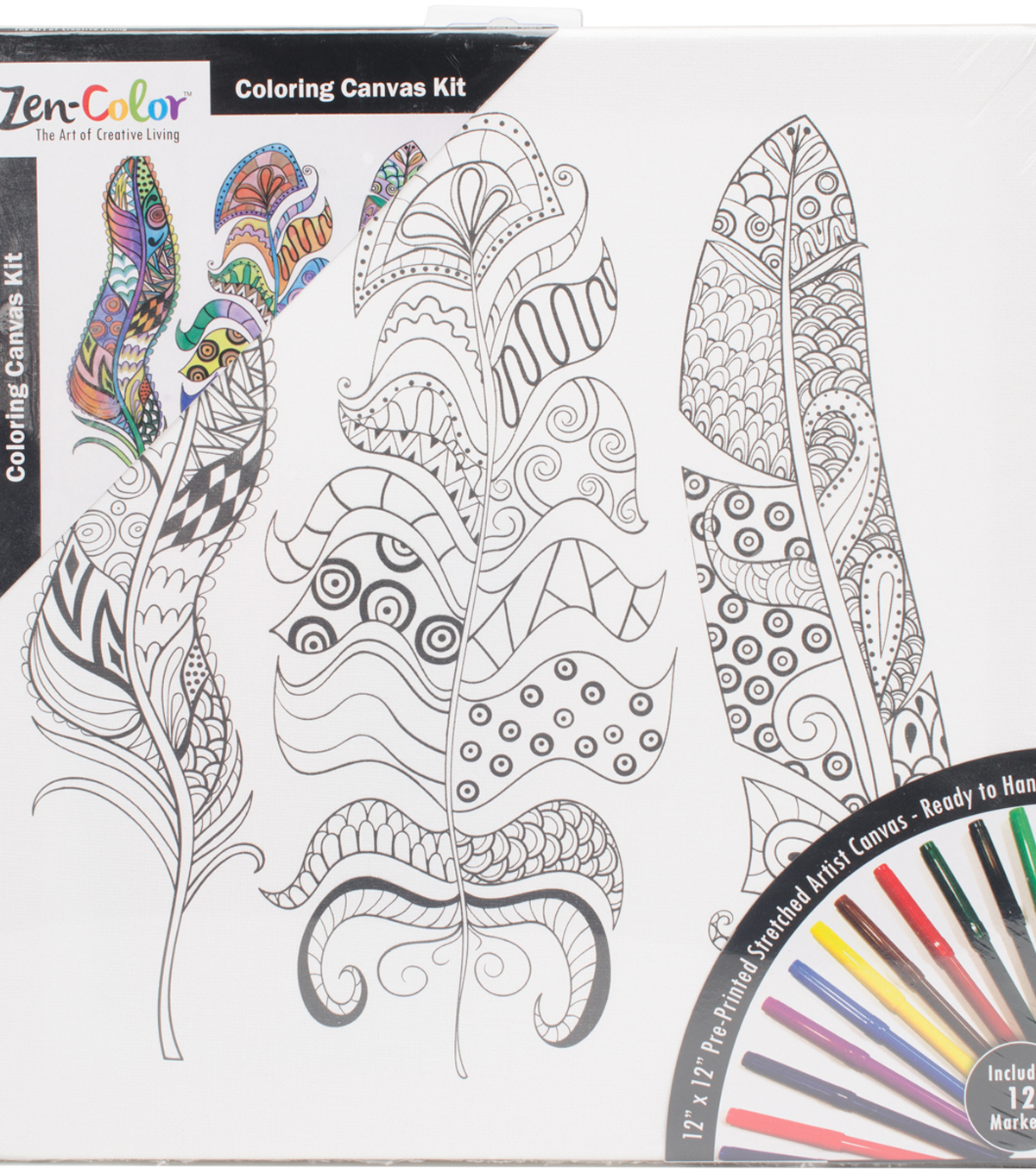 "Adult Coloring Canvas 12""X12"" w/12 Markers-Feathers"