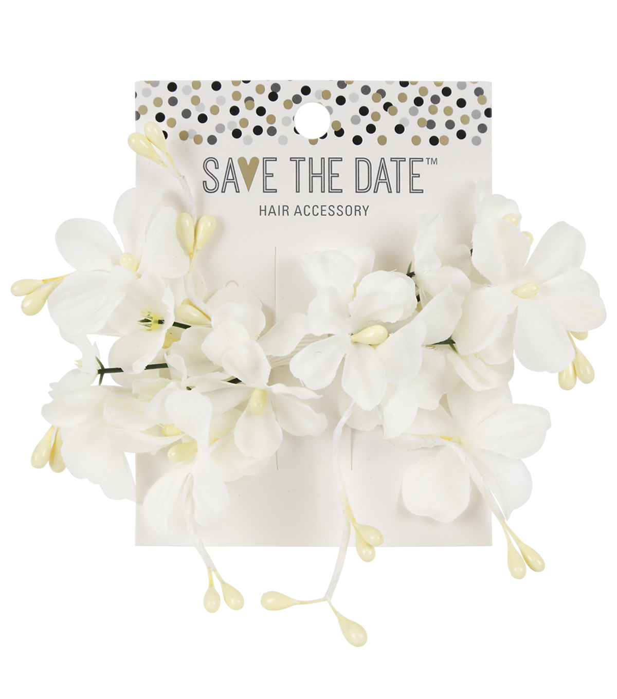 Save The Date Large Flowers Clip-White