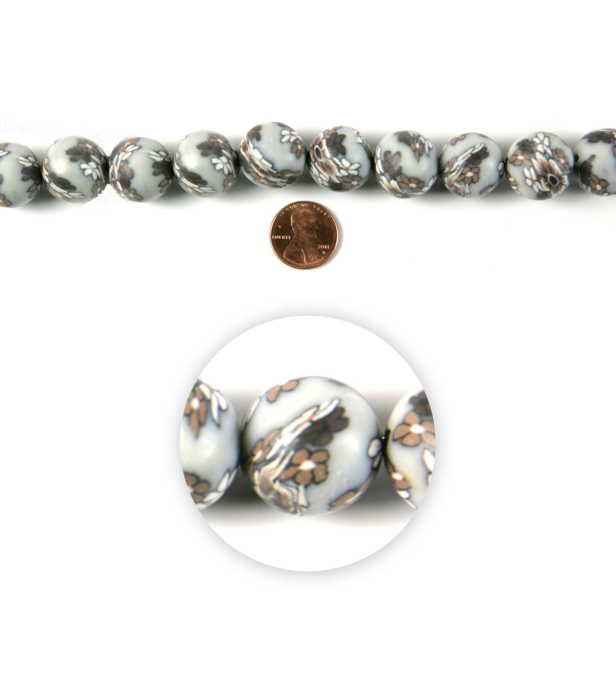 Blue Moon Strung Polymer Clay Beads,Round,Grey w/White & Beige,Floral