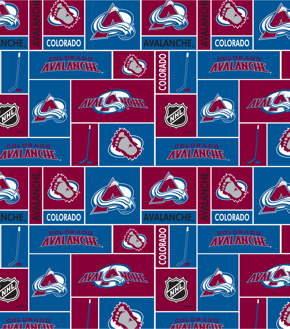 Colorado Avalanche Fleece Fabric 60\u0022-Block