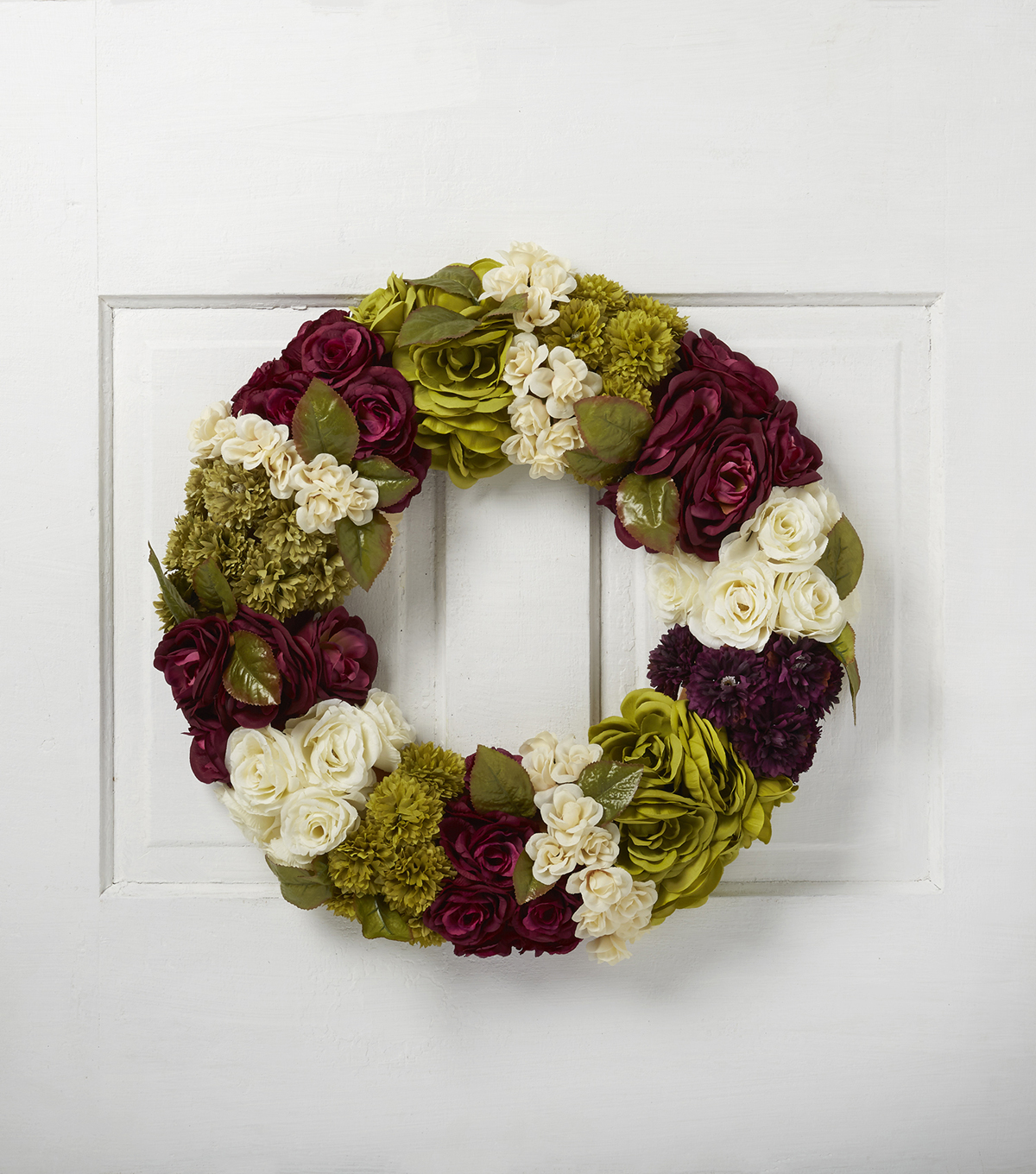 Blooming Autumn 22'' All Over Floral Wreath-Green, Cream & Burgundy