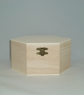 Hexagon Shaped Wood Box