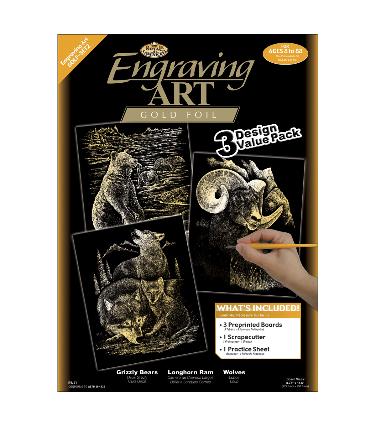 Royal Brush Engraving Art Value Pack-3PK/Grizzly Bears, Rams, Wolves