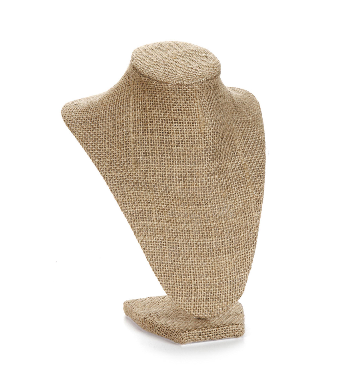 Burlap Covered 3D Jewelry Torso Stand, 9 inches