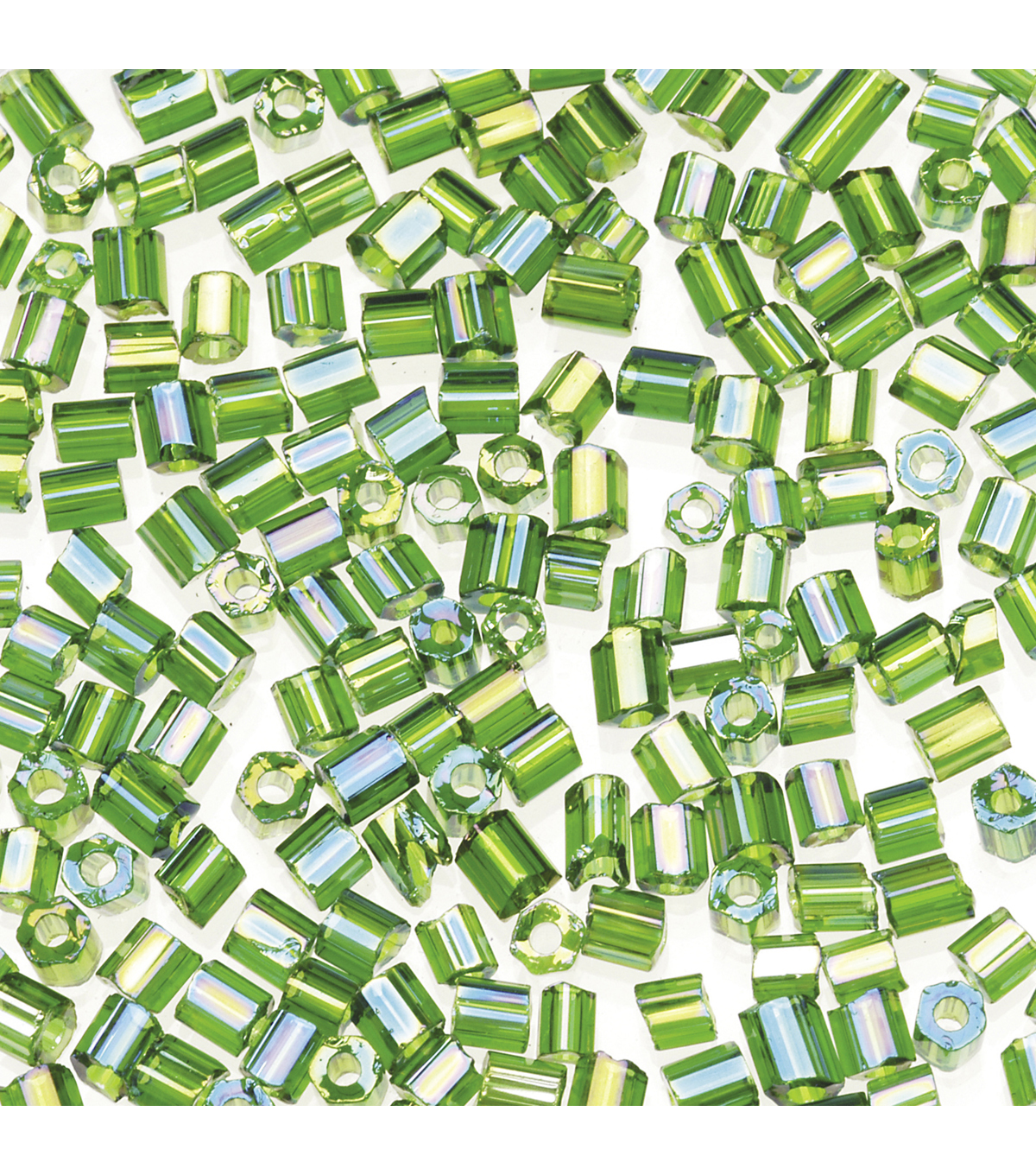 2-Cut Tiny Glass Beads-Green with Rainbow Effect, 20 grams